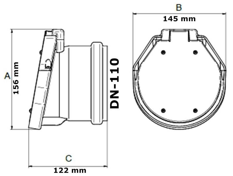 Vezi aici ce dimensiune are o clapeta canalizare antiretur de capat 110mm